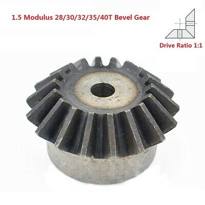 1.5 Modulus 28/30/32/35/40T Umbrella Gear 90° 1:1 Pairing Metal Bevel Gear