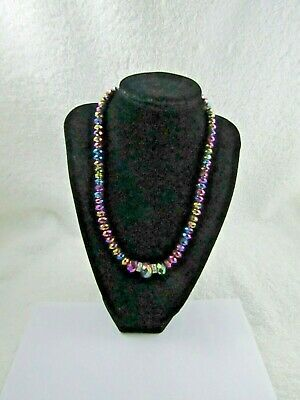Purple Aurora Borealis Glass Beaded Rhinestone Silver Tone Necklace 18 -21 ""