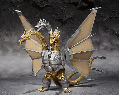 S.H.MonsterArts Godzilla Vs MECHA KING GHIDORAH Mechaghidorah Figure BANDAI ^^