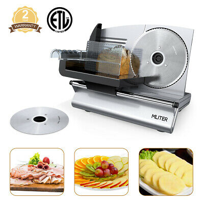 "NEW Commercial Home Electric Meat Slicer 2-Blades 7.5"" Bread Deli Food Cutter US"