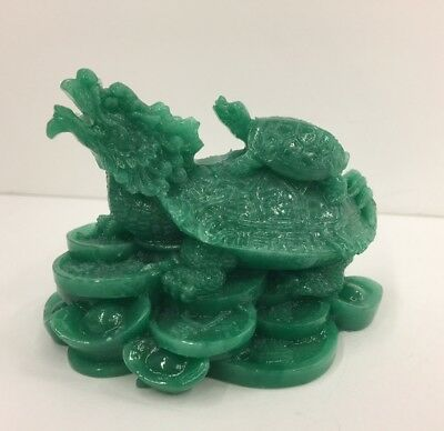 JADE Feng Shui Dragon Turtle Tortoise Statue Figurine Coin Money Wealth