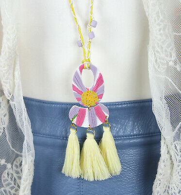 Handmade Yellow Lilac Boho Floral Tassel Large Pendant Adjustable Necklace