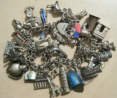 BEST Vintage Sterling Silver Loaded U.KTravel Charm Bracelet-w/31 Tourist Charms