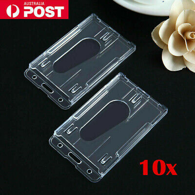 2x Clear Plastic ID Card Holder Lanyard Business Badge Security Pass Double Side