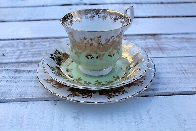 Royal Albert Regal series green and gold tea trio excellent condition vintage