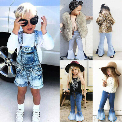 AU Toddler Kids Baby Girl Denim Bib Pants Romper Shorts Overalls Outfits Clothes