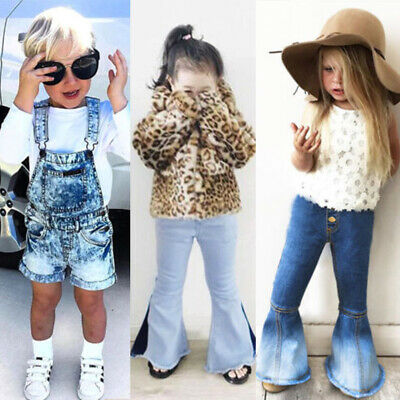 1234fe4b9 Toddler Kids Baby Girls Denim Bib Pants Romper Shorts Overalls Outfits  Clothes