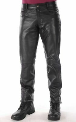 Genuine Leather Mens Pants Cow Skin Motorcycle Black Jeans Trouser BLUF Breeches