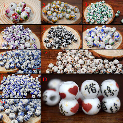 50pcs Flower Chinese Ceramic Spacer Beads 10mm Round Bead DIY Jewelry Findings