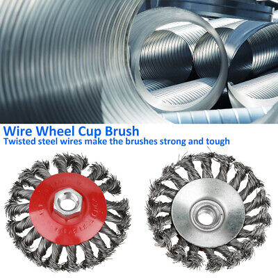 4Pcs Twist Knot Flat Cup Steel Wire Wheel Brush Set for Angle Grinder M14 thread