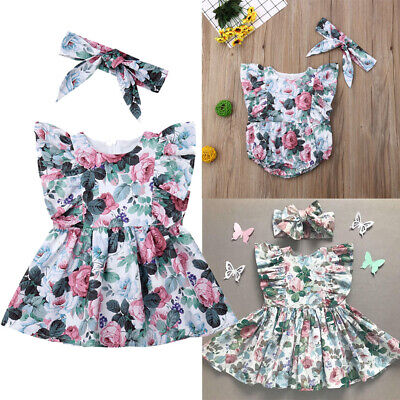 AU Big/Little Sister Matching Floral Baby Girl Romper Kids Dress Headband Outfit