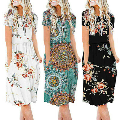 Women Floral Short Sleeve Pocket Sun Dress Ladies Loose Holiday Midi Dress Gypsy