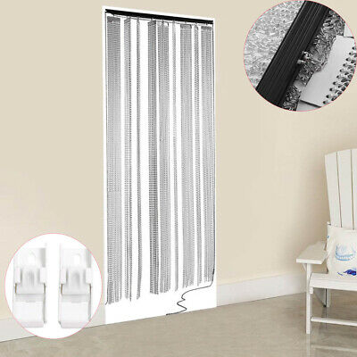 Aluminum Door Curtain Metal Chain Fly Insect Blinds Screen Pest Control 215x90CM