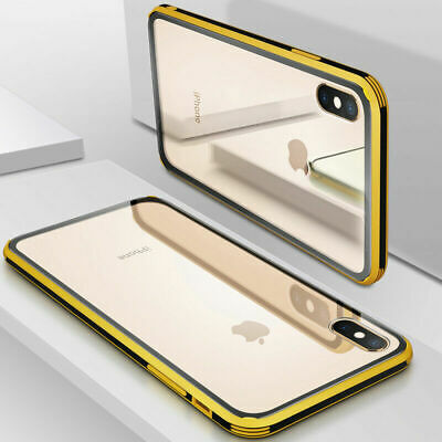 For iPhone XR XS MAX TPU Soft Bumper Tempered Glass Hard Back Hybrid Case Cover