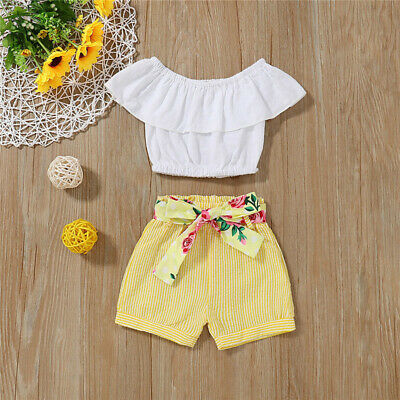 Toddler Kids Baby Girls T Shirt Sun Tops+Pants Shorts Summer Outfits Set Clothes