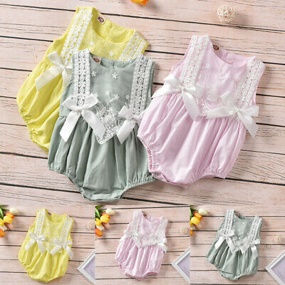 Infant Baby Girls Summer Romper Tops Jumpsuit Bodysuit Clothes Outfit Sleeveless