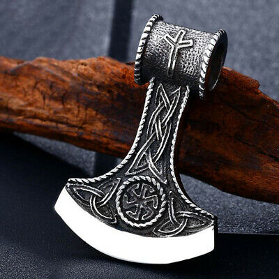 Retro Men Viking Axe Stainless Steel Pendant Leather Chain Punk Necklace