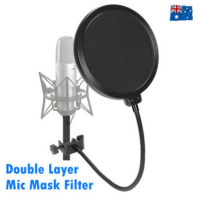 Recording Studio Microphone Wind Screen Mic Pop Filter Mask Shield Double Layer