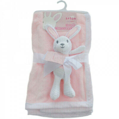 Pink soft touch baby's wrap and toy set