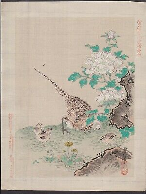 Antique original Japanese woodblock Signed good condition c1890 pheasants