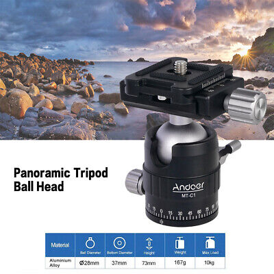 Andoer MT-C1 Compact Size Panoramic Tripod Ball Head Adapter 360° Rotation R2S1