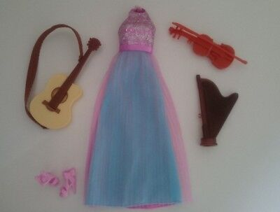 Barbie Dolls Clothes Made to Move Musician Dress Violin Harp Guitar Instruments