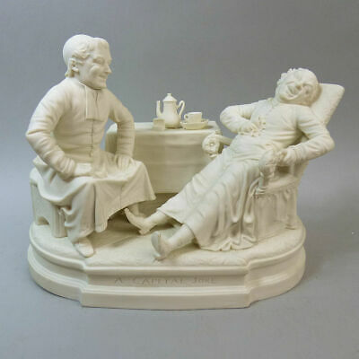 Victorian Parian Ware Figure Group 'A Capital Joke' By Chennecke Co. Milwaukee