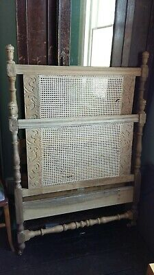 Heal & Son Antique single bed cane wicker headboard Arts & Crafts Brass Casters