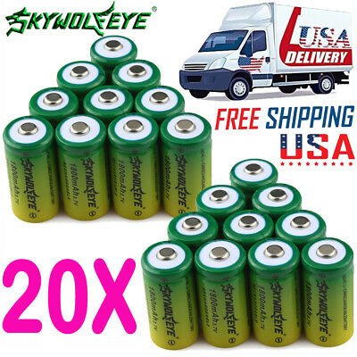 20x 1800mAh 3.7V CR123A 16340 Li-ion Rechargeable Batteries Lithium Battery Cell