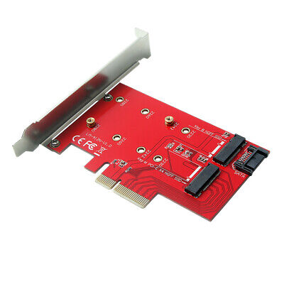PCIE PCI Express 4X to 2Ports NGFF M.2 B&M Key SSD Adapter Expansion Card