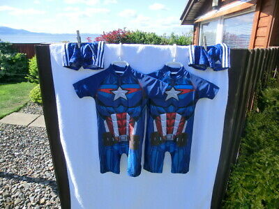 Baby Uva Protect Swimwear Avenger Blue 98Cm  Back Zip And Shorts X 2 For Twins