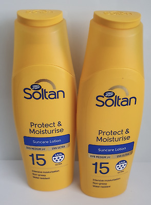 2 x Soltan Protect & Moisturise lotion SPF15 200ml