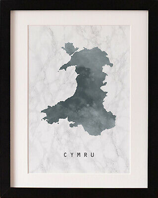 FRAMED Cymru Wales Map Print, Marble Watercolour Wall Art, FAB PICTURE GIFT