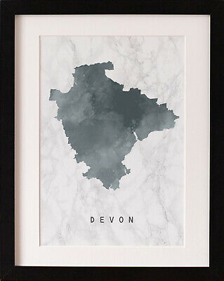 FRAMED Devon Map Print, Marble Watercolour Wall Art, FAB PICTURE GIFT