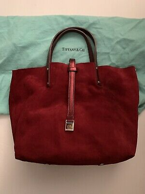 5c941ebedc Tiffany & Co Reversible Leather Tote Purse W/ Pouch Plum Metallic & Suede  Mint