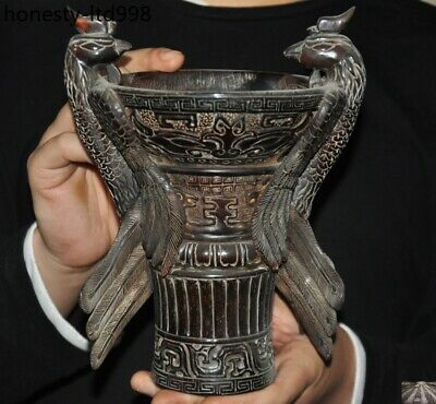 Rare Marked China Ox horn carved phoenix bird statue wine vessel wineglass cup
