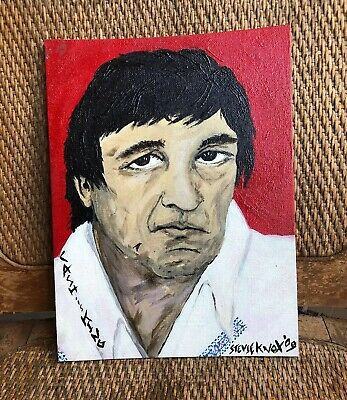 Johnny Cash 9x12 ORIGINAL acrylic PAINTING! Knox COOL Outsider art Portrait ODD