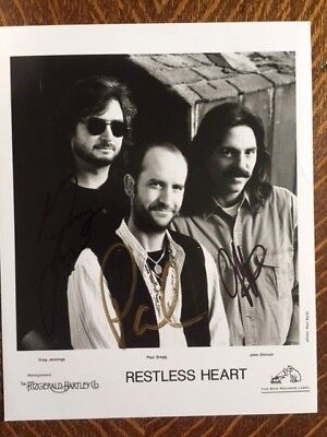 Restless Heart Country Music Autographed Signed Group Photo x 3