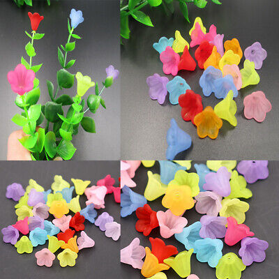 100pcs Mixed Color Frosted Flower Acrylic Beads Craft DIY Jewelry Making 14mm