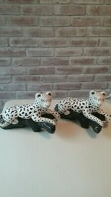 """Pair Of Large Mid Century Mexican Chalkware Spotted Tigers On Cliff 10.5"""" Read"""