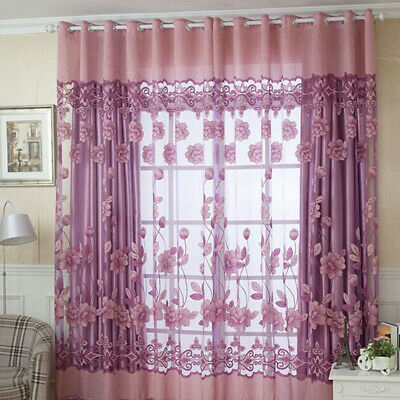 Tulle Curtain Home 3 Colors Floral Door Window Scarf Panel Drape Valance New