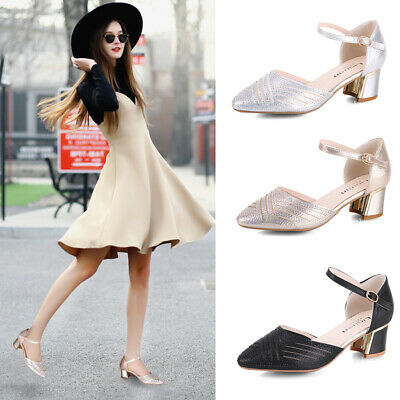 Womens Diamante Party Bridal Shoes Mid Block Heel Ankle Strap Pointy Toe Sandals