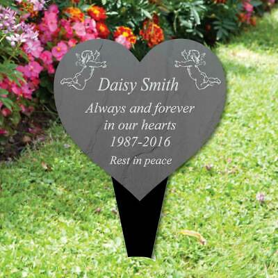 Personalised Heart Memorial Plaque Grave Sign, Cherub In Memory  Slate Effect