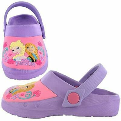 Frozen Elsa & Anna Lilac/Pink Core Croc Style Clog With Adjustable Strap 6 To 12