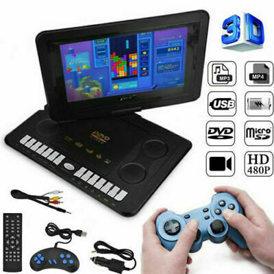 "13.9"" HD TV Portable DVD Player 16:9 LCD 110-240V 270° Swivel Screen  UK Plug"