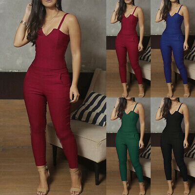 Womens Casual Strappy Jumpsuit Romper Party Bodycon Tight Playsuit Long Trousers