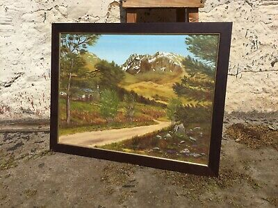 Large Framed Vintage Oil Painting Scottish Countryside Lane Mountain Signed