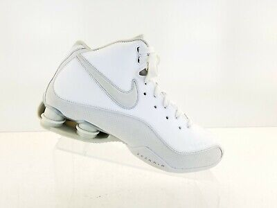 new arrival 17f1a 6855a NIKE Shox Flight Zoom Air Top Basketball Shoes White Leather Womens Sz 9