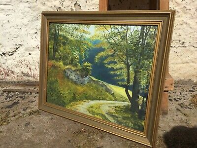 Framed Vintage Oil Painting Of Country Road Landscape Signed Countryside Green