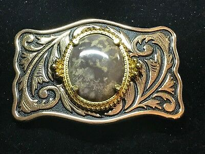 Vintage Black and Gold Cowboy Belt Buckle With Purple Greyish Accent Stone